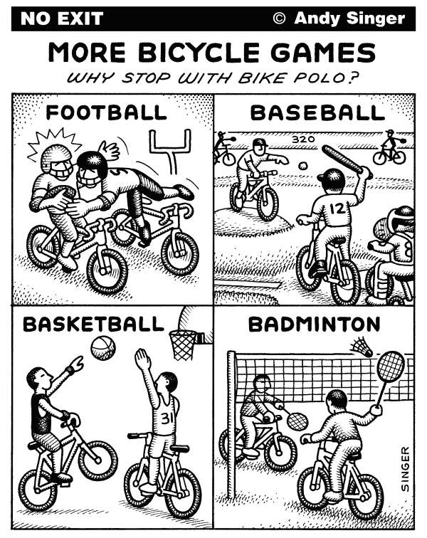 Andy Singer - Politicalcartoons.com - Bicycle Games - English - bicycle,bicycles,bicycling,bicyclist,bicyclists,bike,bikes,biker,bikers,biking,biked,cycling,cyclist,cyclists,game,games,sport,sports,sporting,polo,football,baseball,basketball,badminton,transport,transportation,player,players,athlete,athletes