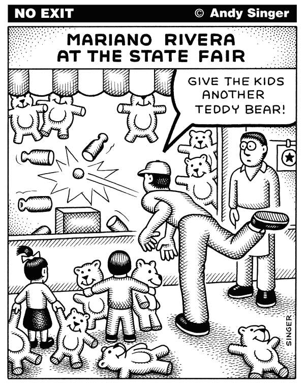 Andy Singer - Politicalcartoons.com - Mariano Rivera at the State Fair - English - Mariano,Rivera,Yankee,Yankees,yankee,yankees,New,York,baseball,base,ball,balls,baseballs,pitcher,pitchers,closer,closers,sports,sport,sporting,carnival,carnivals,game,games,toss,teddy,bear,bears,toy,toys,major,majors,American,League,kid,kids,children