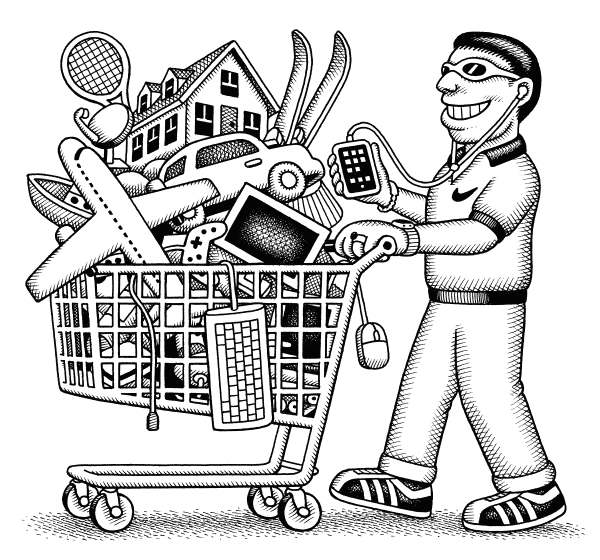83710 600 Consumer Pushes Shopping Cart cartoons