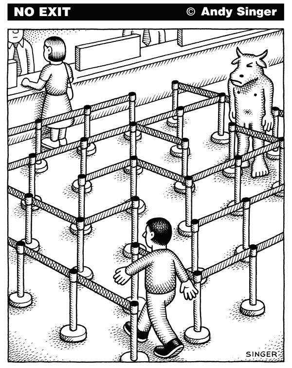 Andy Singer - Politicalcartoons.com - Bank Line Minotaur - English - bank,banks,banking,airport,airports,social,service,services,post,office,postal,checkout,department,dmv,customer,customers,patron,line,lines,wait,waits,waiting,maze,mazes,minotaur,Minotaur,minotaurs,Minotaurs,tellers,bureaucracy,bureaucratic,ropes