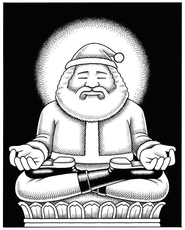 Andy Singer - Politicalcartoons.com - Zen Santa Claus - English - zen,Zen,Buddha,Buddhism,buddhism,buddha,Santa,Claus,santa,claus,Christmas,Christ,consumerism,consumption,consuming,meditation,lotus,meditate,nothingness,capitalism,gift,gifts,product,products,religion,religions