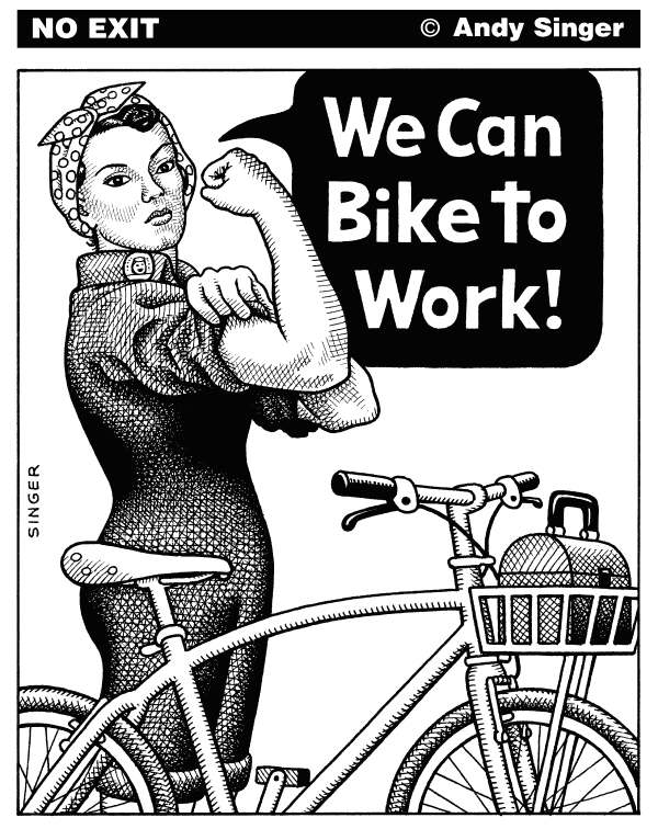 87159 600 We Can Bike to Work cartoons