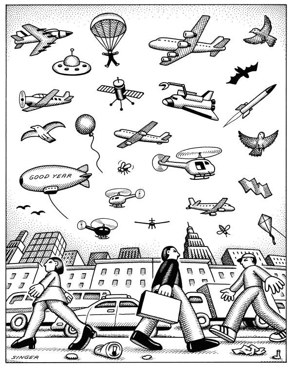Andy Singer - Politicalcartoons.com - Sky Stuff - English - sky,skies,space,heavens,air,plane,planes,airplane,airplanes,aircraft,flying,machine,machines,helicopter,helicopters,bird,birds,satellites,satellite,rocket,rockets,blimp,blimps,insect,insects,fly,bee,parachute,parachuter,trash,alien,saucer,aliens