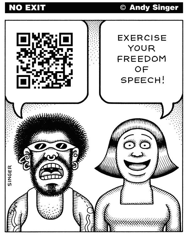 QR Code Censorship © Andy Singer,Politicalcartoons.com,QR,qr,computer,computers,code,codes,coding,barcode,barcodes,scanner,scanners,scanning,communication,communications,technology,technologies,language,languages,cell,phone,phones,censorship,censor,censors,freedom,speech,civil,right,rights,talk
