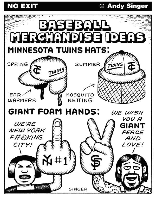 Andy Singer - Politicalcartoons.com - Baseball Merchandise Ideas - English - baseball,baseballs,sport,sports,gloves,jerseys,Minnesota,minnesota,Twins,twins,New,York,Yankees,San,Francisco,New York,city,San Francisco,Giants,giants,spring,summer,hat,hats,mosquito,ear,flaps,foam,finger,fingers,hand,hands,merchandising,merchandise