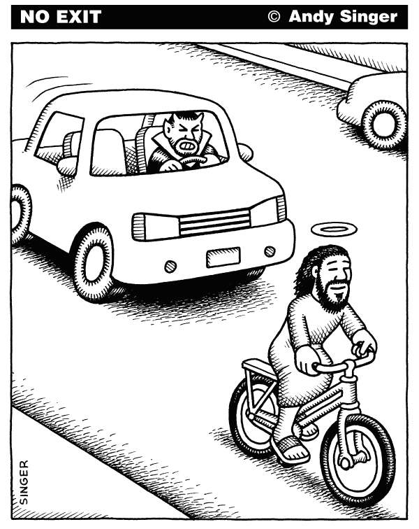 Andy Singer - Politicalcartoons.com - Devil Car and Jesus Bike - English - devil,devils,satanic,Satan,Jesus,Christ,Christianity,Christian,christians,bicycle,bicycles,bike,bicyclist,bicyclists,biking,biker,bikers,cyclist,cycling,cyclists,bikes,car,cars,motor,vehicles,driving,drivers,motorists,transportation,transport,autos