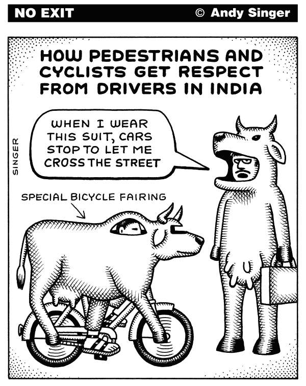 116017 600 Pedestrians and Cyclists in India cartoons