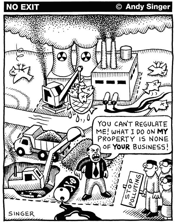 Andy Singer - Politicalcartoons.com - Regulation - English - environmental,environment,regulation,regulate,regulates,air,water,pollution,polluters,pollutes,oil,petroleum,chemicals,spill,spills,leaks,mining,mine,mines,fracking,frack,hydraulic,fracturing,natural,gas,drill,drills,drilling,waste,wastes,laws