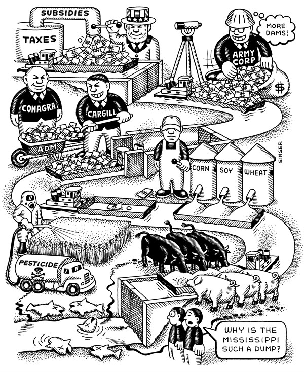 Mississippi River Pollution © Andy Singer,Politicalcartoons.com,mississippi,river,River,rivers,agribusiness,agriculture,feedlots,feed,lot,lots,feedlot,cattle,pigs,swine,poultry,sow,sows,grain,corn,wheat,soy,Army,Corps,army,corps,engineers,Engineers,barges,pesticide,pesticides,barge,locks,dams,environment,pig