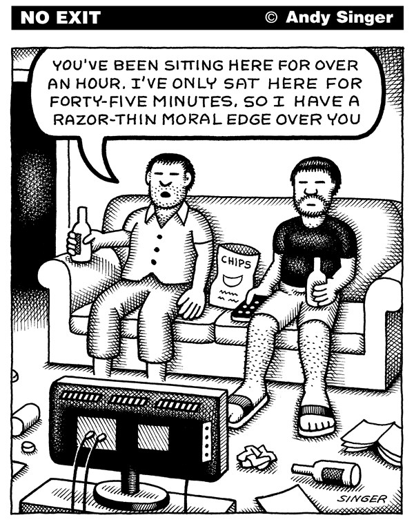 Andy Singer - Politicalcartoons.com - Razor Thin Moral Edge - English - morals,morality,moral,ethics,ethical,ethic,faith,religion,philosophy,philosophies,religions,belief,beliefs,faiths,television,TV,televisions,tvs,technology,computer,computers,screen,screens,sport,sports,entertainment,recreation,media,slackers