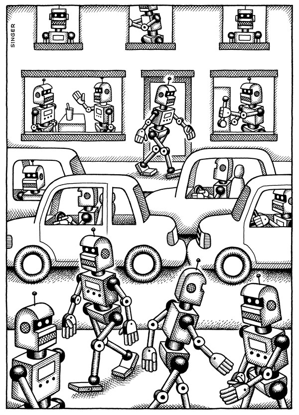 Andy Singer - Politicalcartoons.com - Robot World - English - robot,robots,robotics,mechanical,machine,machines,automation,automated,automates,sociology,human,behavior,behaviors,alienation,alienated,alienate,alienates,alien,aliens,robo,city,cities,driving,commuting,commuters,job,jobs,life,commute,work
