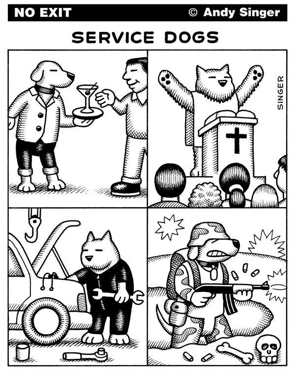 Andy Singer - Politicalcartoons.com - Service Dogs - English - military,religious,religion,cocktail,waiter,waiters,waitress,waitresses,catering,automobile,car,auto,autos,cars,automobiles,service,services,servicing,station,dog,dogs,animal,animals,canine,canines,pet,pets,aid,aids,aides,tag,tags,dogtags
