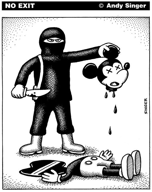 Isis Beheads Mickey Mouse © Andy Singer,Politicalcartoons.com,Isis,isis,Isil,isil,islamic,Islamic,State,Syria,syria,Iraq,iraq,Syrian,Iraqi,terrorist,terrorists,terror,terrorism,fighter,fighter,behead,beheads,beheading,beheadings,journalist,journalists,journalism,Charlie,Hebdo,charlie,hebdo,mickey,mouse