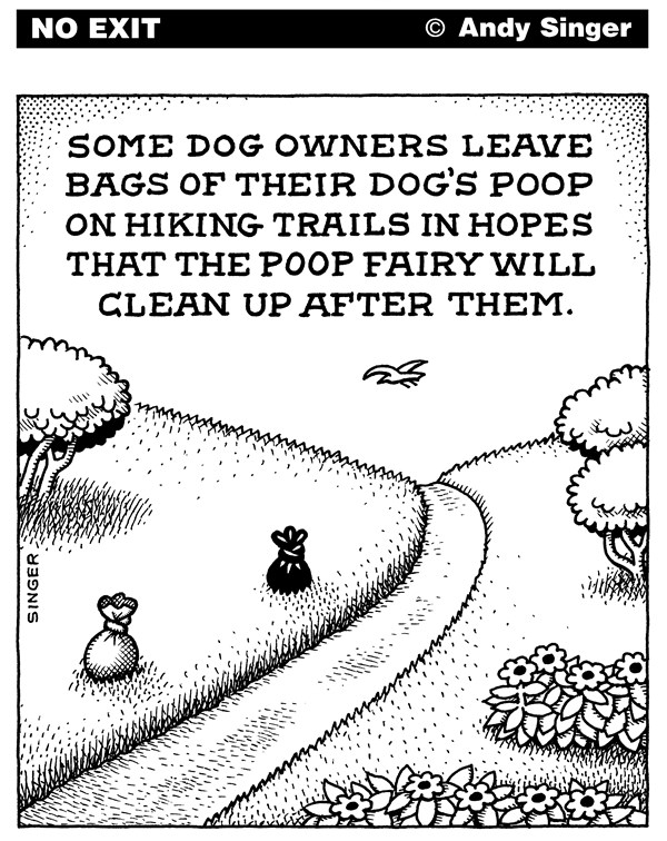 Dog Poop Fairy © Andy Singer,Politicalcartoons.com,dog,dogs,pet,pets,animal,animals,puppy,puppies,canine,canines,poop,poops,shit,shits,crap,craps,doo,doodoo,feces,fecal,waste,park,parks,hiking,trail,trails,bag,bags,curb,dropping,droppings,hiker,hikers,fairy,fairies,cleanup,clean,owner,owners