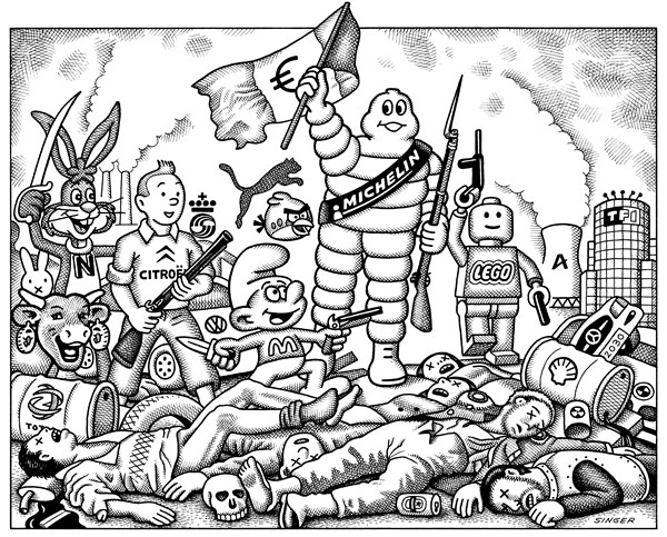 European Corporate Revolution © Andy Singer,Politicalcartoons.com,corporation,corporations,brand,brands,branding,multinational,multinationals,logo,logos,icon,icons,Eugene,Delacroix,Liberty,liberty,Michelin,smurfs,Lego,Legos,Citroen,Volkswagon,BMW,Nestle,Tintin,KLM,Airbus,revolutions,France,Euro,euros,trade,labor,art