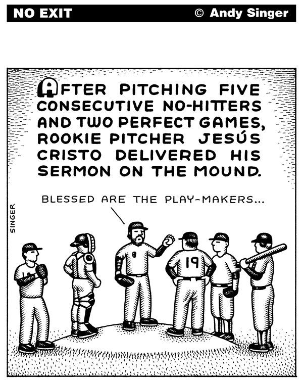 Andy Singer - Politicalcartoons.com - Sermon on the Mound - English - sport,sports,major,league,baseball,team,teams,pitcher,pitchers,no-hitter,no-hitters,no,hitter,perfect,game,games,rookie,rookies,Jesus,Christ,Cristo,Christianity,Christian,Christians,cristo,jesús,religion,religions,ball,club,clubs,pitching,mound,mounds
