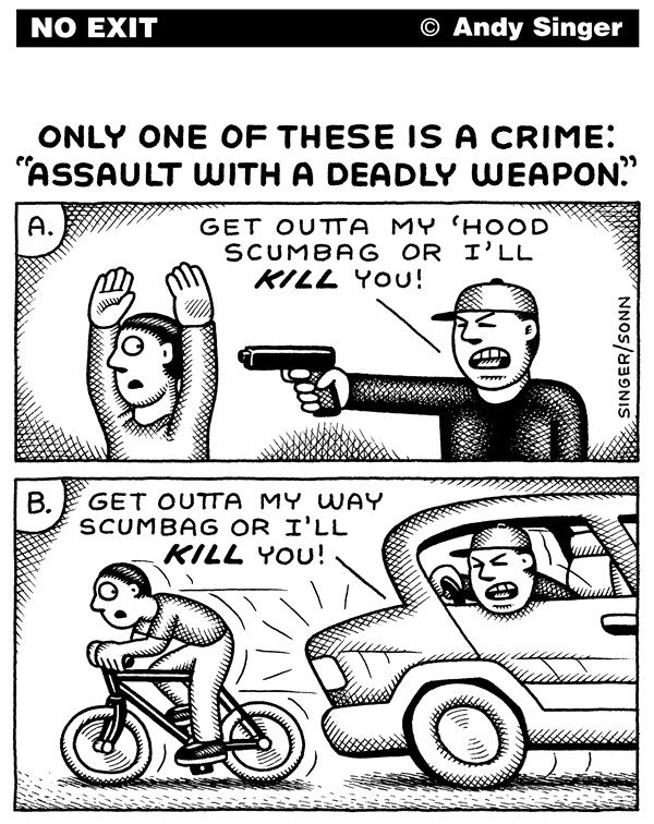 Andy Singer - Politicalcartoons.com - Cars are Deadly Weapons - English - car,cars,auto,automobile,automobiles,motor,vehicle,vehicles,aggressive,driver,drivers,driving,pedestrian,pedestrians,bicyclist,bicyclists,bike,bikes,biking,cyclist,cyclists,cycling,bicycle,assault,assaults,gun,guns,weapons,weapon,crime,crimes,criminals