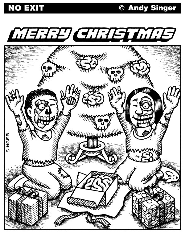 Andy Singer - Politicalcartoons.com - Zombie Christmas black and white version - English - zombie,zombies,undead,dead,brain,brains,Christmas,Christian,christianity,holiday,holidays,gift,gifts,giving,religion,consumerism,consumption,consumer,consumers,present,presents,Christians,tree,ornament,ornaments,christmas,xmas
