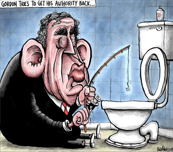 Brian Adcock - The Scotland - Gordon Brown looks for his Authority - English - gordon Brown, authority, toilet fishing rod,labour