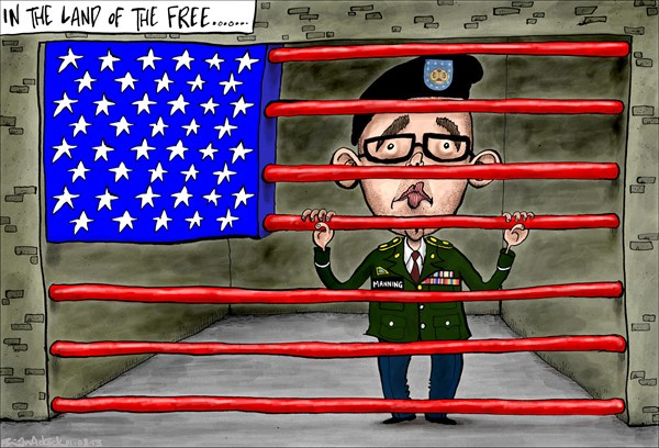 Brian Adcock - The Scotland - Bradley Manning to be Sentenced  - English - Bradley manning, manning, whistle blower, USA, America, wikileaks, land of the free, prison, sentenced,