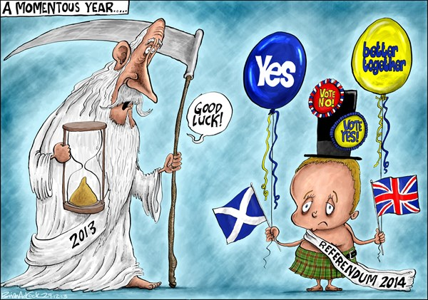 Brian Adcock - The Scotland - SCOTTISH INDEPENDENCE REFERENDUM IN 2014 - English - old father time, new year baby, new year, a momentous year, Scotland, uk, independence, referendum, SNP,