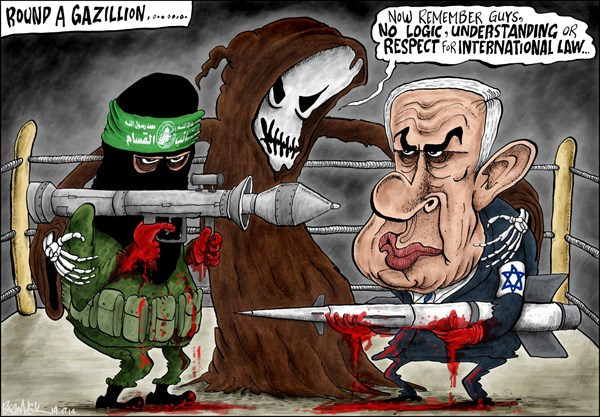 SAME OLD ISRAEL VERSUS PALESTINE © Brian Adcock,The Scotland,Israel, Gaza, Palestine, Netanyahu, Hamas, War, Conflict, death, grim reaper, boxing ring, round a gazillion,