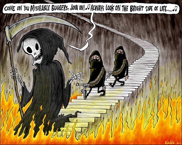 HELL FOR TERRORISTS © Brian Adcock,The Scotland,charlie hebdo, death, grim reaper, je suis charlie, hell, monty python, life of brian, satire, terrorists, paris shootings, extremism,
