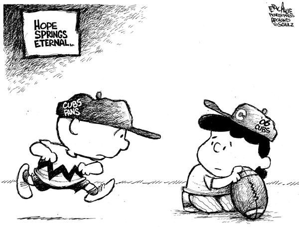 Eric Allie - Caglecartoons.com - Hope springs eternal - English - baseball, cubs, losers, spring training, 2006, charlie brown, charlie, lucy, teams, team, hope