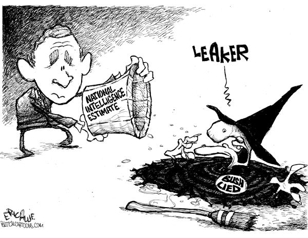 Eric Allie - Caglecartoons.com - Leaker - English - Leak, bush lied, intelligence, leak, national intelligence, estimate, witch, wicked witch, liar, lie, melting