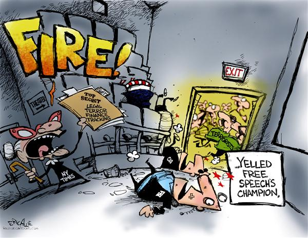 Eric Allie - Caglecartoons.com - Yelling Fire - English - NY Times, New York Times, media, leaks, leak, war, terror, finance, terror, tracking, fire, terrorists, terror, free speech, press