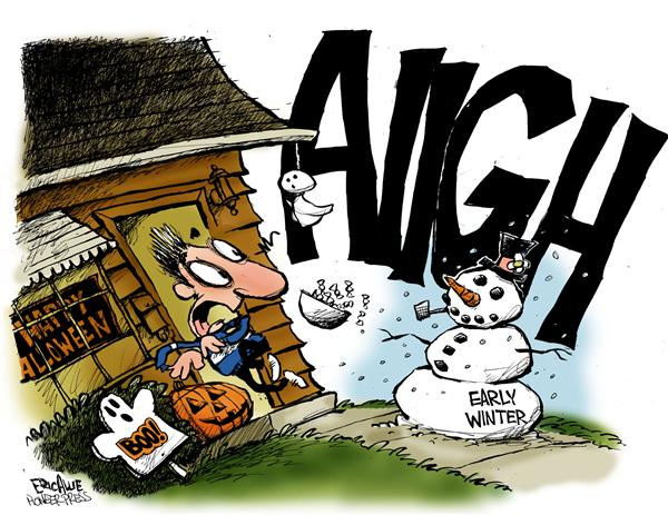 Eric Allie - Caglecartoons.com - AHHH - English - weather, halloween, scary, winter, snowman, early winter, season, seasons, trick or treat, ahhh, october, cold, snow, fall, autumn