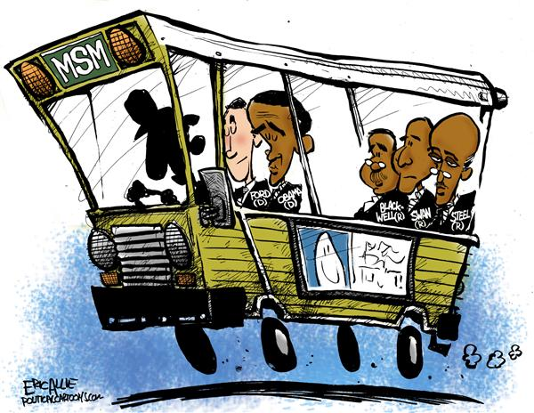 Eric Allie - Caglecartoons.com - Back of the bus - English - race, media, bias, elections, coverage, obama, ford, steel, mainstream media, press, coverage, buss, black, campaign, campaigns, bus, 2008