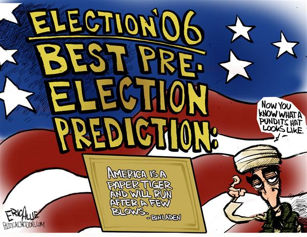Eric Allie - Caglecartoons.com - Prognosticator par excellence - English - paper tiger, election, weakness, war, cut and run, withdraw, withdrawl, pull out, prediction, predictions, bin laden, osama, 2008, pre-election, elections
