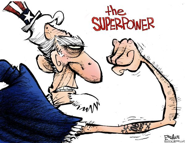 Eric Allie - Caglecartoons.com - The Superpower - English - election, US, democrats, strength, superpower, power, muscle, muscles, uncle sam, democrats, dems, democrat, mid-terms, mid-term, mid terms, mid term, midterm, midterms, tattoo