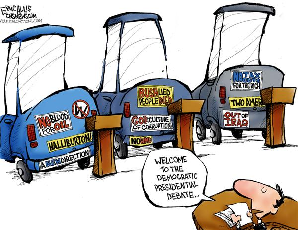 Eric Allie - Caglecartoons.com - Bumpersticker policy -- color - English - John Edwards, dems, democrats, bumpersticker, out of iraq, no tax cuts for the rich, rich, no wmd, bush lied people died, war, a new direction, war on terror, debate, bumperstickers, policy, campaigns, campaign