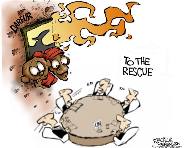 Eric Allie - Caglecartoons.com - Darfur -- color - English - Darfur, UN, genocide, africa, african, United nations, resuce, resuing, fire, firfighters, firefighter, ignore, policy, aid