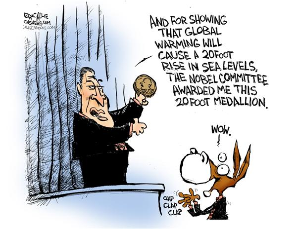 Eric Allie - Caglecartoons.com - Gore and his award - English - gore,globalwarming, panic,noble, peace prize, al gore, climate