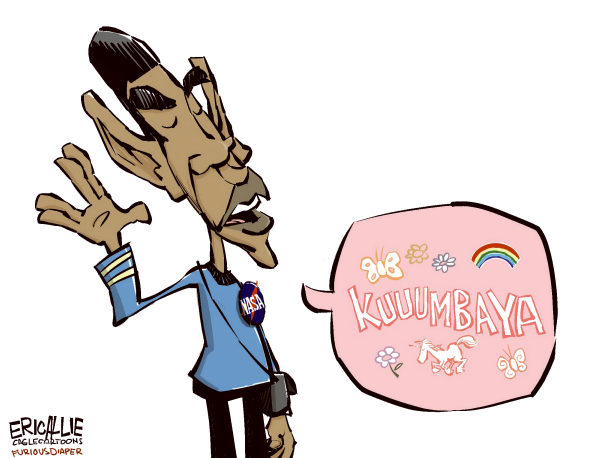 Eric Allie - Caglecartoons.com - Science officer Spock COLOR - English - NASA,obama,barack,space,muslim outreach,science