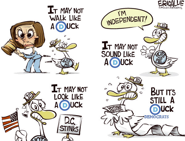 Eric Allie - Caglecartoons.com - Democrats rebranding COLOR - English - rebranding, democrats, election, pelosi, obama, logo, symbol, change, brand