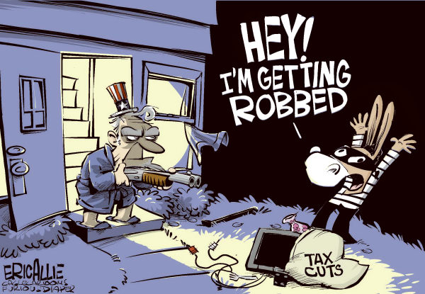 Dems get robbed COLOR © Eric Allie,Caglecartoons.com,				taxes,bush,tax rate,obama deal,money, democrats, taxes, hold-up, robbery, stealing