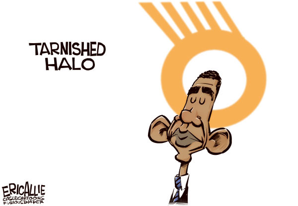 Eric Allie - Caglecartoons.com - Tarnished halo COLOR - English - hope,change,solyndra,crony capitalism,chicago,stimulus,waste,fraud,election