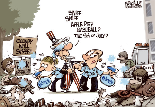 Eric Allie - Caglecartoons.com - Covering the stink COLOR - English - occupy wall street,democrats,student loans,capitalism,socialism,economy,economics,obama,media,tea party,bias,fabreze