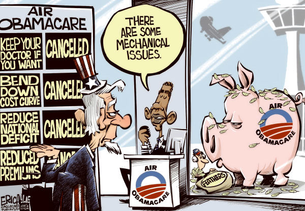 Eric Allie - Caglecartoons.com - Err Obamacare COLOR - English - Obamacare,democrats,BS,con,fail,health,taxes,deficit,stupid
