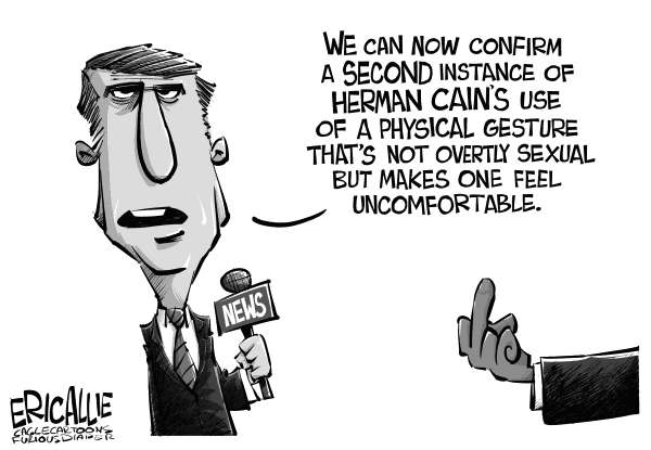 Eric Allie - Caglecartoons.com - Non sexual gesture - English - cain,media,msm,election,herman,press,politico,high tech lynchhing