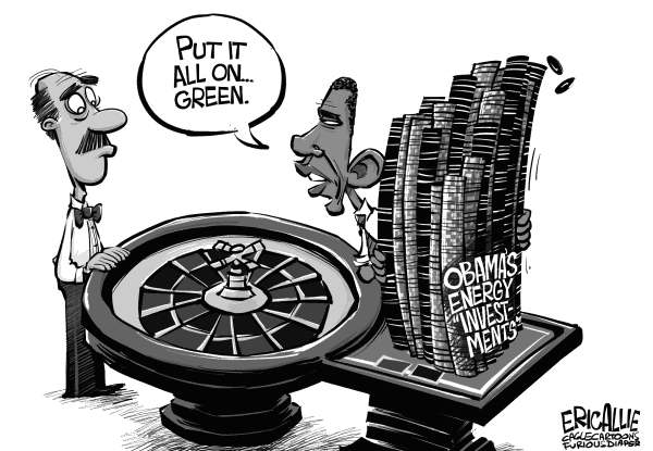 Eric Allie - Caglecartoons.com - Green investments - English - green,obama,barack,solyndra,energy,unicorns