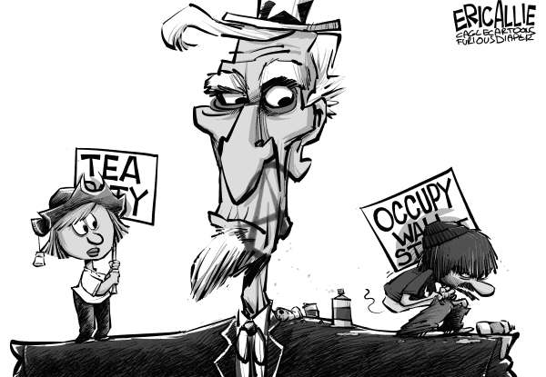 Eric Allie - Caglecartoons.com - Tea v Occupy - English - occupy,tea,wall street,scum,democrats,obama,socialists,know nothings