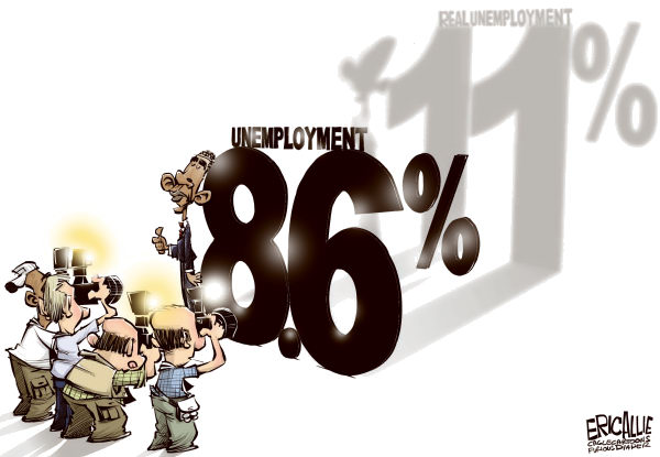 Eric Allie - Caglecartoons.com - Real unemployment COLOR - English - obama,jobs,employment,unemployment,work force
