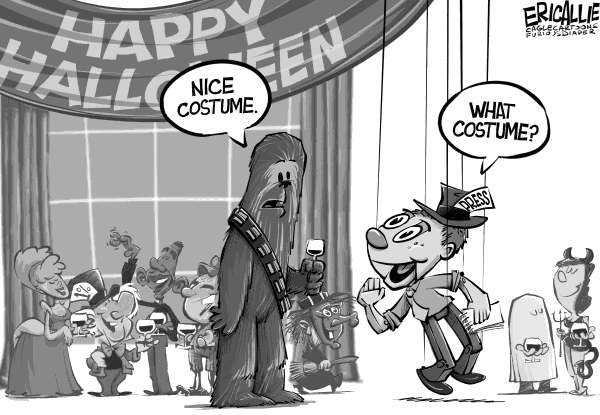 Eric Allie - Caglecartoons.com - Press puppets - English - msm,media,puppets,bias,democrats,press, spending, Obama, lavish halloween party
