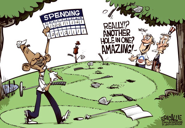Eric Allie - Caglecartoons.com - Spender COLOR - English - Spending,obama,campaign,press,economy,budget