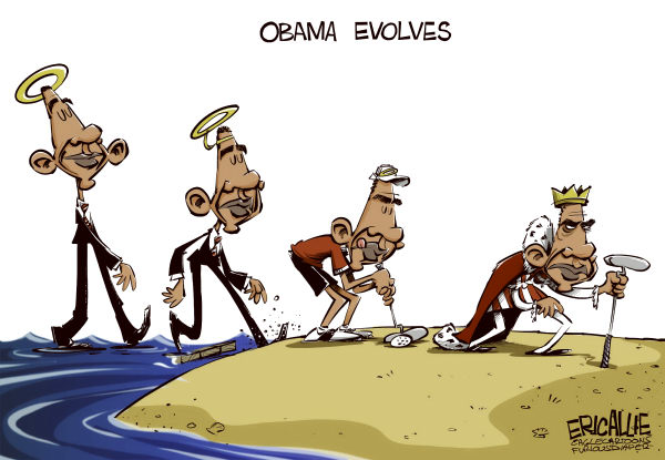 Eric Allie - Caglecartoons.com - Obama evolves COLOR - English - Obama, immigration, constitution, mandate, campaign, evolution, power, the one, golf, politician, hope, change